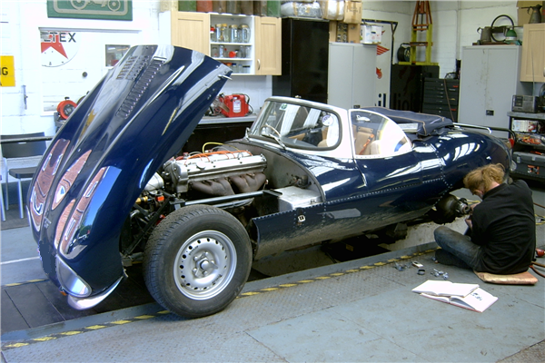 Jaguar XKSS in workshop