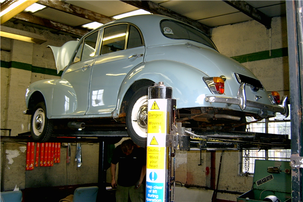 Morris Minor in the workshop